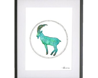 Capricorn Zodiac Illustration Print with Gold Foiling