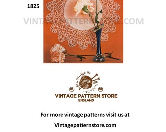 "1960s, circular mat with tatted lace border 13"" diameter  - Vintage PDF Tatting Pattern 1825"