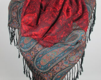 Red Gray Pashmina Scarf Travel Gift Wanderlust Gift Holiday Oversized Scarf Shawl Women Accessories Gift For Her For Mom Gift For Women