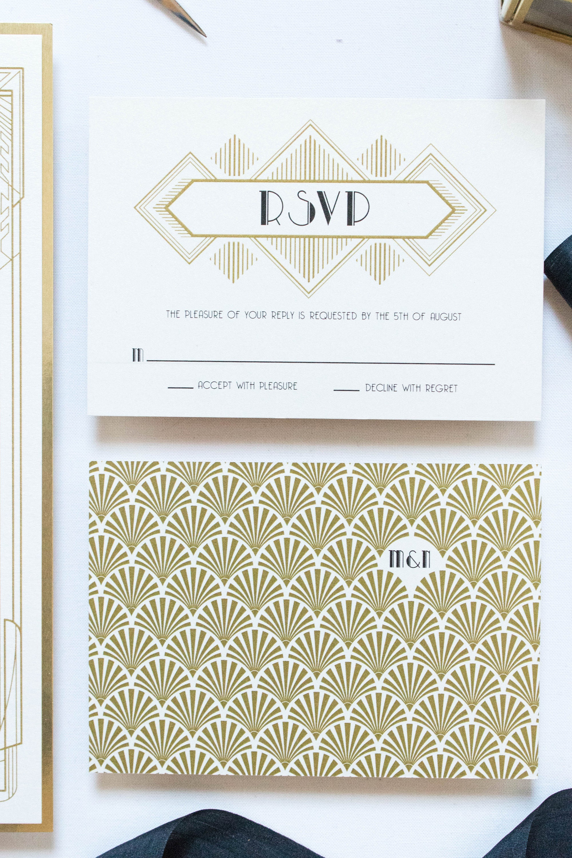 SAMPLE Art Deco Gatsby Themed Gold and Black Wedding Invitation ...