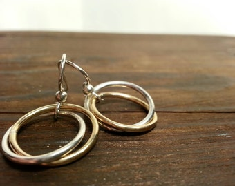 Gold and Silver Intertwined Earrings, Sterling Silver and 14k Gold Fill