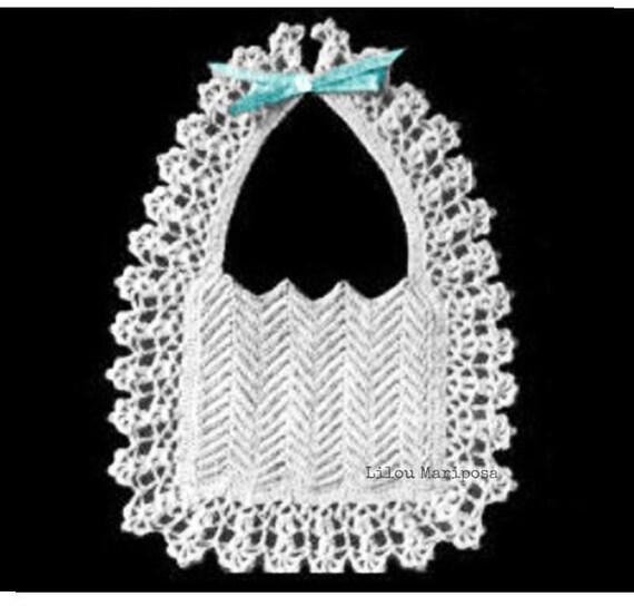 Crochet Bib Pattern Vintage 40s Crochet Baby Bib Pattern Crochet