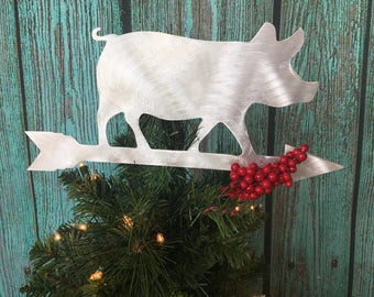 Weathervane Pig, Christmas Tree Topper, Wreath Decoration, Holiday Decoration, Wall Hanging or Yard Art, Metal, Rustic, Farm, Pot Belly Pig