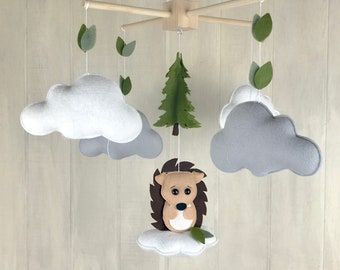 Baby mobile - hedgehog mobile cloud babies - cloud mobile - star mobile - crib mobile - nursery decor - moon mobile - forest mobile