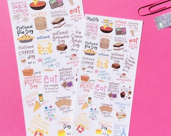 Foodie Holiday Planner Stickers, Planner Stickers, Holiday Planner, Kiss cut stickers, Planner Supplies, Holiday Stickers