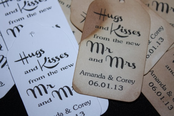 Hugs and Kisses Personalized Wedding Favor MEDIUM tag choose your amount
