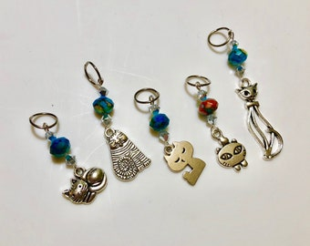 Cat pendant beaded stitch markers (set of 5)