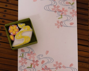 Cherry blossoms and Flowing water Stamp Set, Sakura Stamp Set,