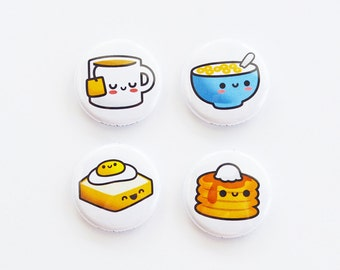 Breakfast Button or Magnet or Keychain, Pancake, Tea, Coffee, Cereal, Toast, Egg, Novelty Button, Pancake Keychain, Pancake Magnet,roocharms