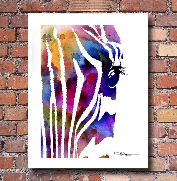 Zebra Art Print Abstract Watercolor Painting Wall Decor