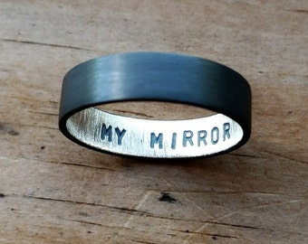 Men's Oxidized Secret Message Ring. Custom Stamped Sterling Silver Wedding Band. Personalized. 6mm. Wedding Ring. Flat Ring. Black. Grey