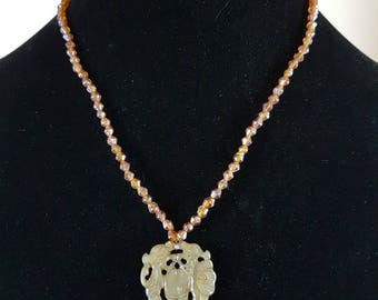 Bronze Glass Bead and Shell Carved Pendant