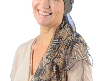 Fay - Jersey Cotton Hat with Chiffon Scarf for Cancer, Chemo and Hair Loss