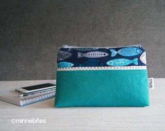Petit nautique sac à main - vert bracelet porte monnaie - pochette Planner - bleu iPhone sac à main - sac à main poisson - trousse maquillage - MinnePouch - prêt à l'expédition