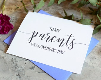 Wedding Card for Parents - To My Parents On My Wedding Day - Thank You Card - Wedding Day Keepsake - Mom and Dad BC217