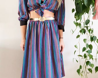 Vintage 80s Striped Skirt Set/Rainbow Striped Skirt and Blouse Set/Two Piece 1980s Set/Retro Striped Pencil Skirt and Blouse
