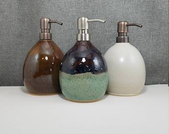 IN STOCK** Ceramic Soap Dispenser Handmade Pottery Lotion Dispenser Pottery for Kitchen and Bath - Matte White
