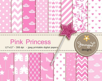 Pink Princess Digital Papers, Magic Wand Clipart, Glass Slippers, castle Pink Birthday theme Princess Party, Stars Sparkles