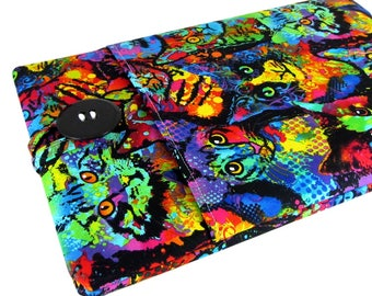 """Women's Laptop Sleeve 15.6"""" - Custom Sized To Your 15 Inch Laptop - Padded With Pocket, Watercolor Cat Fabric"""