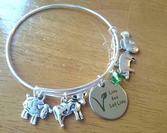 Live and let live bangle bracelet /necklace/key ring