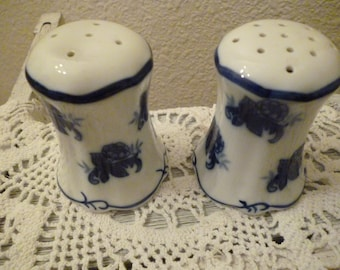 Blue And White Salt And Pepper Shakers ~ Vintage Blue and White China Floral ~ Blue and White Kitchen Decor ~ Gift For Her ~ Dining Decor