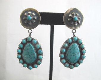 STERLING Silver Vintage Anthony Skeets Navajo TURQUOISE Cluster Dangle Drop Earrings