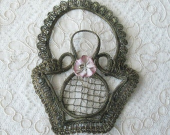 Antique French Metallic Ribbon Applique with Ribbonwork Flower - Flower Basket Design