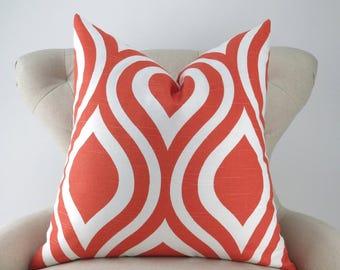Orange Pillow Cover -MANY SIZES- Tangerine Orange & White, Ogee Pattern Throw Pillow, Euro Sham, Emily Tangelo Premier Prints, FREESHIP