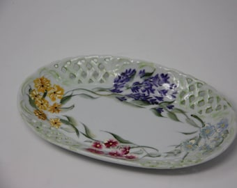 Porcelain tray. Trinket dish, China trinket dish, gifts under 10, hand painted dish, floral tray, jewelry box, hostess gift, gifts for her