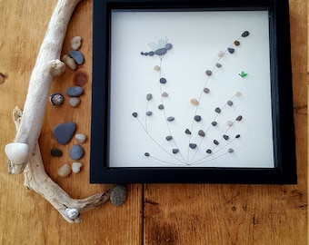 Pebble and Sea Glass Dragonfly & Butterfly