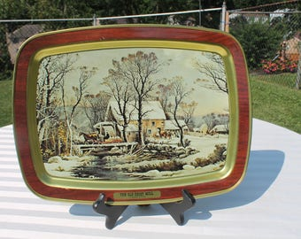 """Currier & Ives Serving Tray Titled """"The Old Grist Mill"""""""