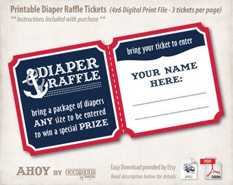 INSTANT DOWNLOAD, Printable Baby Shower Diaper Raffle Tickets, 4x6, Digital File, Navy & Red, Ahoy, Nautical, Anchor, Aquatic