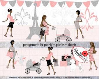 Pregnant In Paris Pink Dark Skin Tones: Clip Art Pack Card Making Digital Maternity Fashion French Poodle Baby Shower Pink & Black
