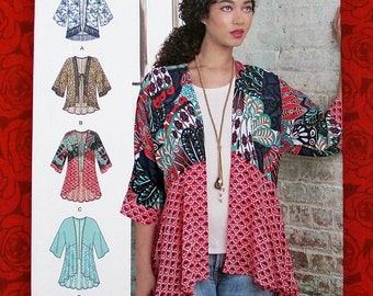 Simplicity 8172 Easy Sewing Pattern, Kimono Jackets, Hi Lo Top, Sizes Xxs Xs S M L xL XxL, Summer Fall Sportswear, Boho Chic Fashion, UNCUT