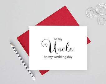 To my uncle on my wedding day card, wedding stationery, folded note cards, folded wedding cards, wedding stationary, wedding note cards
