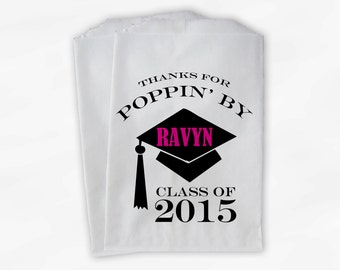 2018 Graduation Cap Personalized Popcorn Bags - Set of 25 Black and Hot Pink High School Grad Party Favor Bags Thanks For Poppin By (0060)