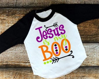 Jesus Is My Boo Shirt, Halloween Shirt, Jesus Shirt, Christian Shirt, Religious Shirt, Baseball Shirt, Raglan Shirt, Black Shirt, Boo