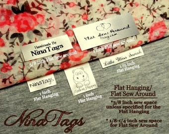 60 Custom Satin Clothing Labels - Sew-In Hanging or Flat Sew Around - Fabric Garment Tags - NinaTags