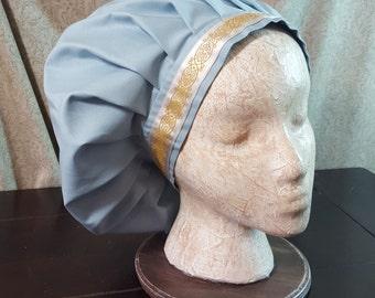 Fog Blue Muffin Cap With Jacquard Trim, Medieval Caul, Renaissance Costume, Floppy Hat, Mob Cap, SCA LARP, Peasant Garb, Head Covering