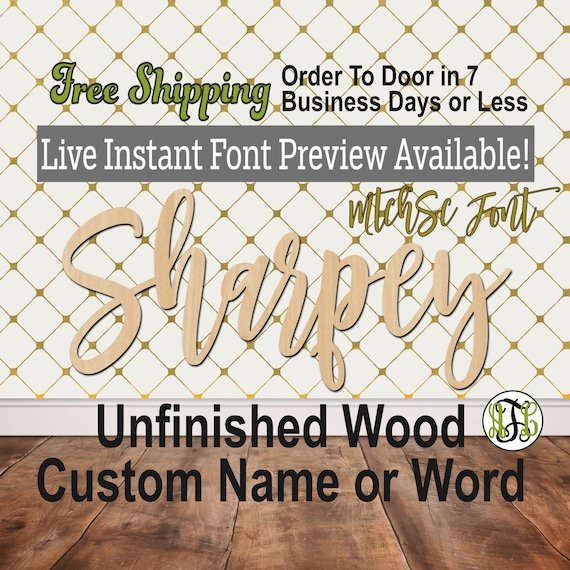 MtchSc Font Custom Name or Word Sign, Cursive, Connected, wood cut out, wood cutout, wooden, Nursery, Wedding, Birthday, name sign, Script