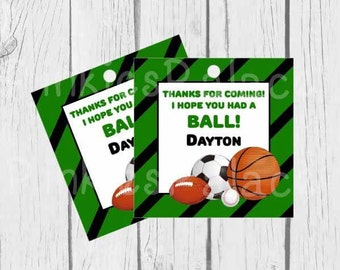 Personalized Sports Tags Birthday Tags Party Tags Boys Birthday Thank You Tags Set of 10 - T621