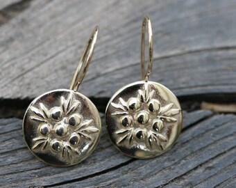 100%  flower Gold Earrings, 14K Gold Earrings, Handmade 14K Solid Yellow Gold Earrings, Gold Flower Earrings,