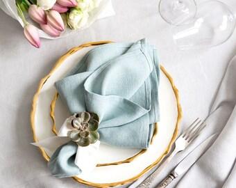 Blue Napkins set of 6 made of Natural Linen - Easter Table Decor - Wedding napkins
