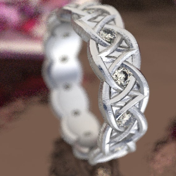 Celtic Moissanite Wedding Ring With Dara Knot Design in Sterling Silver, Made in Your Size CR-1036