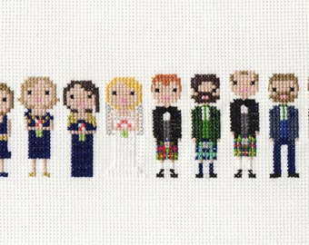Extra Large Wedding Custom Cross Stitch Portrait in Pixel Art Style (Unframed)