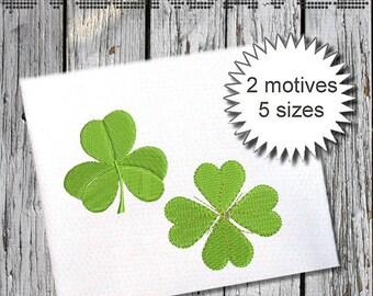 cloverleaf - Machine Embroidery  Designs - 2 motives - 5 sizes - Instant Download