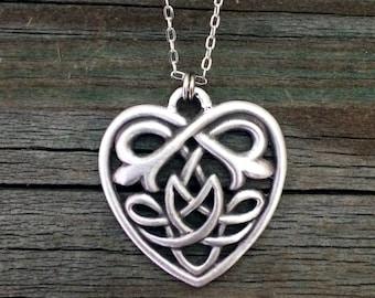 Celtic Heart Necklace   Celtic Jewelry   Irish Jewelry   Scottish Jewelry   Handcrafted Jewelry   Fine Pewter by Treasure Cast