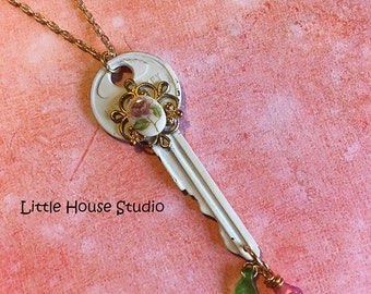 Key Necklace, White Key Necklace, Upcycled, Rose Cameo Necklace, Vitage Key, Key Charm, Vintage Key, Key Charm, Key Pendant, Key