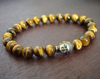 Tigers Eye Buddha Mala Bracelet // Grade AAA+ Tiger's Eye Mala Bracelet // Prayer Beads, Yoga, Jewelry, Buddhist, Meditation