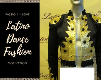 Latino men paso doble vest black and gold LB950